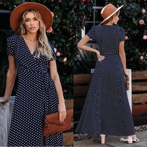 Dresses & Skirts - Polka dots wrap boho dress